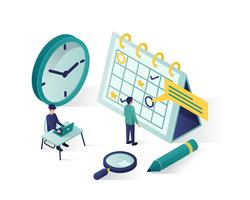 booking a schedule isometric vector illustration