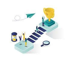 reaching the success isometric illustration design