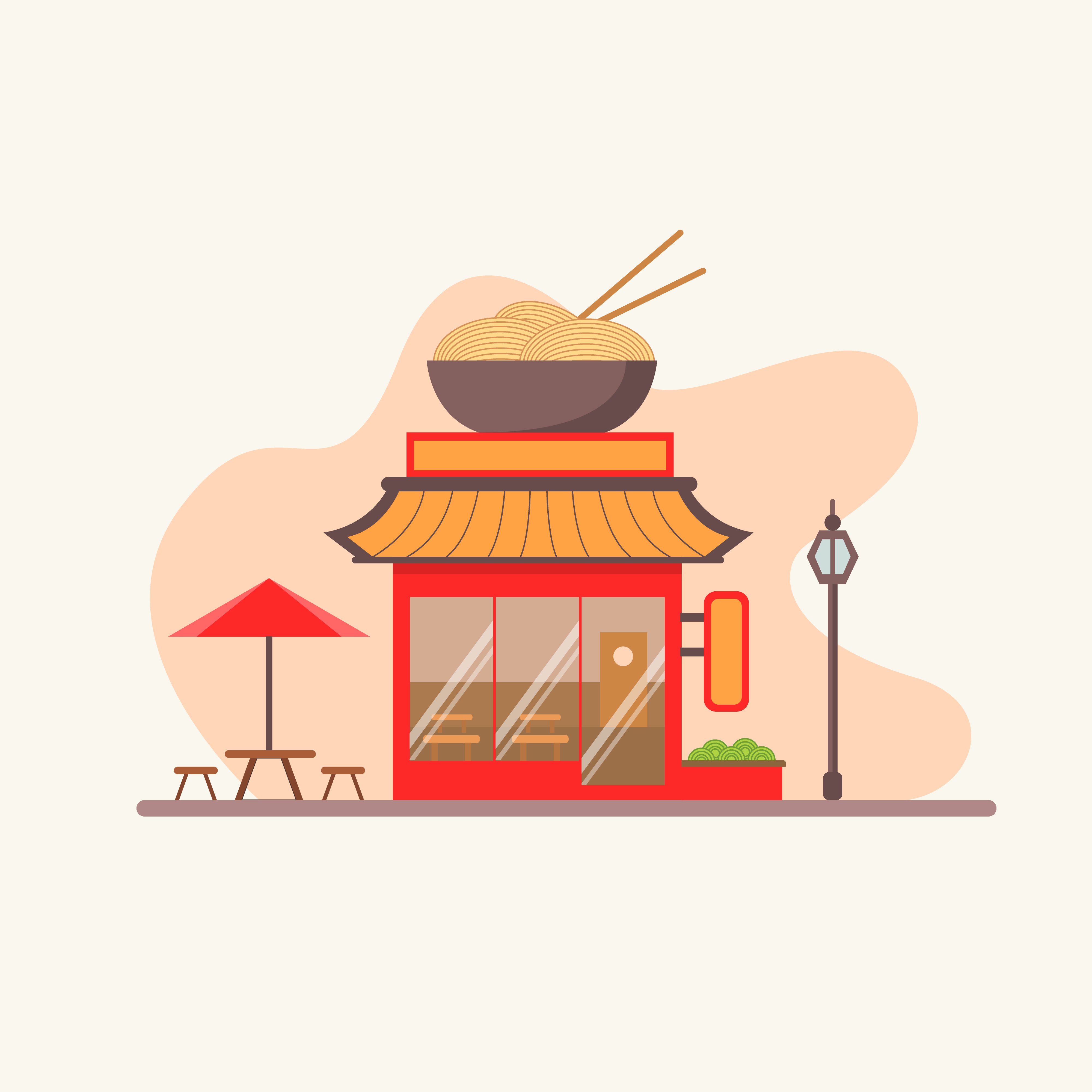 Chinese Restaurant With Outdoor Seating In The Street Download Free Vectors Clipart Graphics Vector Art