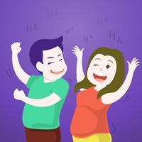Söta par dansar och skrattar tillsammans i festen