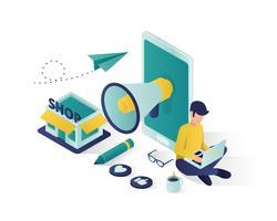 Geschäftsförderung isometrische Darstellung