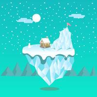 Ein kleines Haus auf einer sich hin- und herbewegenden Eisberg-Landschaftsszene