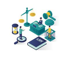 justice and law isometric illustration vector