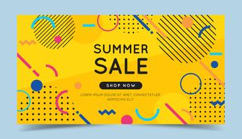 Summer sale banner with abstract geometric elements