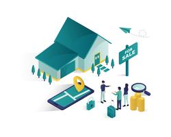 real estate isometric illustration graphique vectoriel