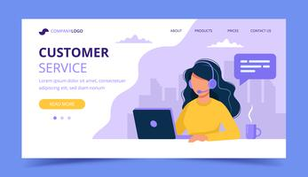 Customer service landing page. Woman with headphones and microphone with computer. Concept illustration for support, assistance, call center. Vector illustration in flat style