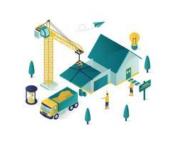 illustration isométrique immobilier construction
