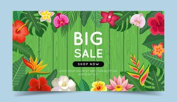 Big sale banner with tropical flowers