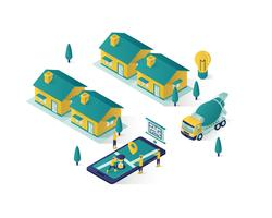 real estate construction isometric illustration