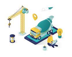 illustration de vecteur isométrique construction service en ligne