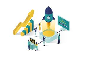 isometric vector illustration a group of people characters are preparing a business project start up