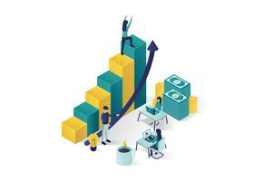isometrische vector illustratie een groep mensen personages bereiden een zakelijk project opstarten