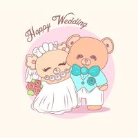 Cute Bear Couple Wedding Invitation Greetings