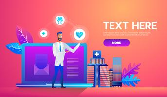 Online Diagnosis Web Banner vector