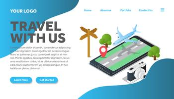 isometric road traveling illustration website landing page