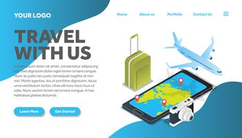 isometric luggage traveling illustration website landing page