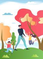 Padre caminando en el parque con dibujos animados de niños felices