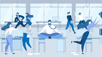 Cartoon Man Meditate Office Table People Stressed
