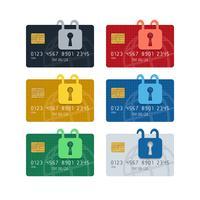 Hänglåssymboler på kreditkort med beskrivna jordklotmönster