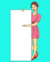 Pop-Art-Brunettemädchen, das vertikale Fahnenanzeige zeigt