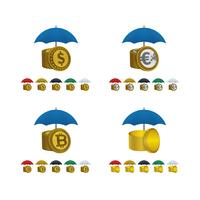 Umbrella icons with currencies
