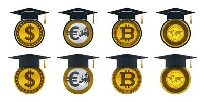 Concepts of graduation cap with coins