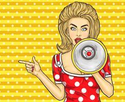 Pointage pop art fille avec mégaphone