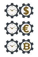 Gear icons with currencies and clock faces