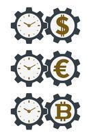 Icone dell'ingranaggio con valute e quadranti di orologio