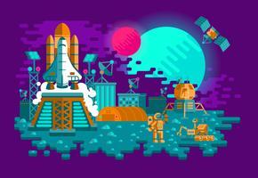 Illustration av en raket med platt stil på en okänd planet