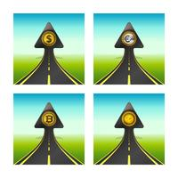 Arrow shaped road with dollar coin rising into sky