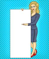 Pop art business woman with blank banner