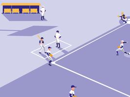 baseball game scene vector