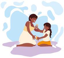 Madre e hija jugando diseño