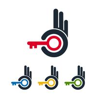 Icone astratte della mano con le chiavi