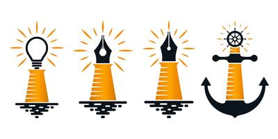 Abstract lighthouse icons