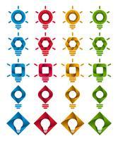 Iconos de bombilla de infografía espiral