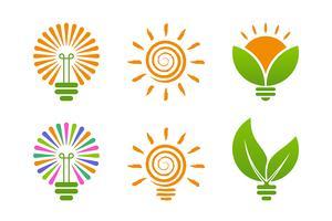 Glödlampaikoner med gröna energiteman