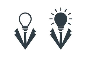Bulb shaped businessman head icons
