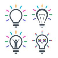 Bulb icons with colorful light beams