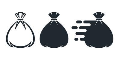 Gebundene Sack flache Symbole