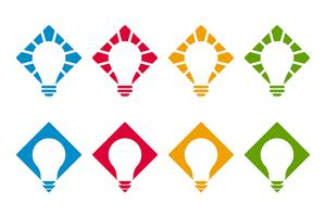 Bulb icons on diamond shapes