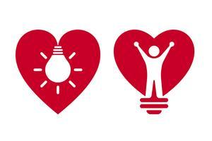 Heart shaped bulb icons vector