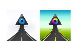 Simboli della freccia in aumento con i bulbi oculari.