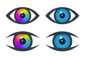 Eye icons with colorful eyeball