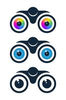 Binoculars icons with eyeballs