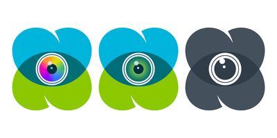 Overlapping heart icons with eyeballs