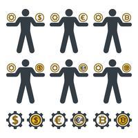 Affärsman balansera redskap och valuta