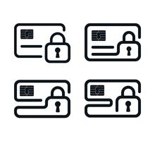 Outline credit card icons with padlocks