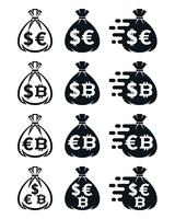 Money bag icons with various currency symbols